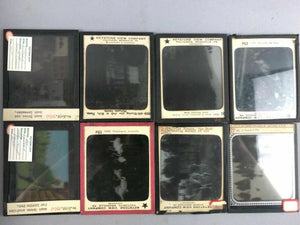 48 ANTIQUE MAGIC LANTERN GLASS SLIDES IN WOODEN BOX  - lot 3496