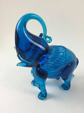 Load image into Gallery viewer, Blue Blown Glass Elephant Figurine - lot 1321