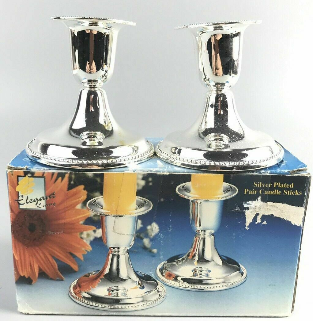 Elegant Living Silver Plated Pair Candle Sticks- 2160