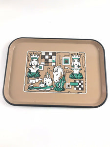 Vintage Ingrid Richardson Ing-Rich Porcelain Enamel Tray w Chess Pieces Rare5249