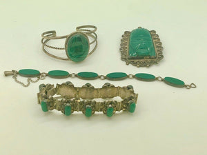4 piece mexico sterling and green onyx bracelets and pin.