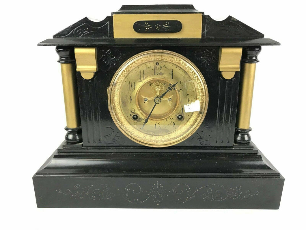 Ansonia Clock NY, Antique 5 1/2 1880s open escapement Dial Cast Iron Clock #1603