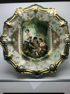 Antique RS Prussia Porcelain Portrait KeyHole Dice Throwers Bowl Art Nouveau