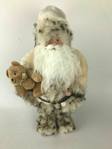 Santa Claus Fugurine W/ Fur White Suit And Teddy Bear- Lot 552