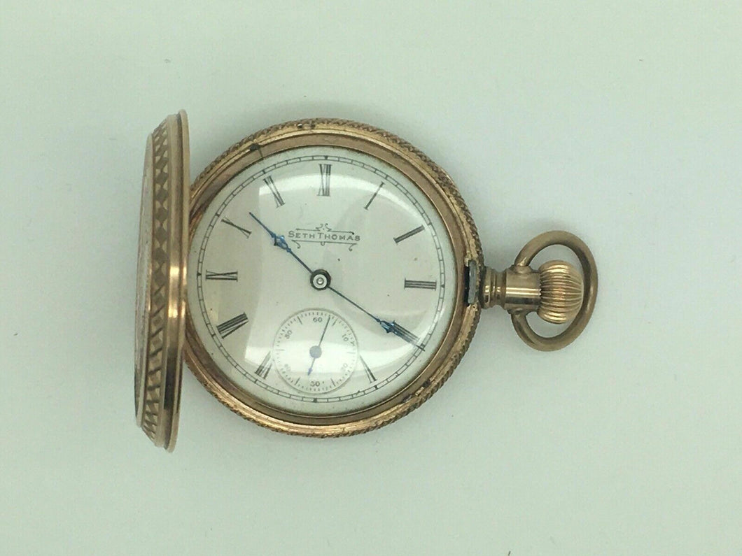 ANTIQUE SETH THOMAS HUNTER 11J 10K GF BUTTERFLY CASE POCKET WATCH - lot 4103R