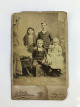 Load image into Gallery viewer, Vintage 19th Century J R Pearson cabinet card of a family's children - lot 3050