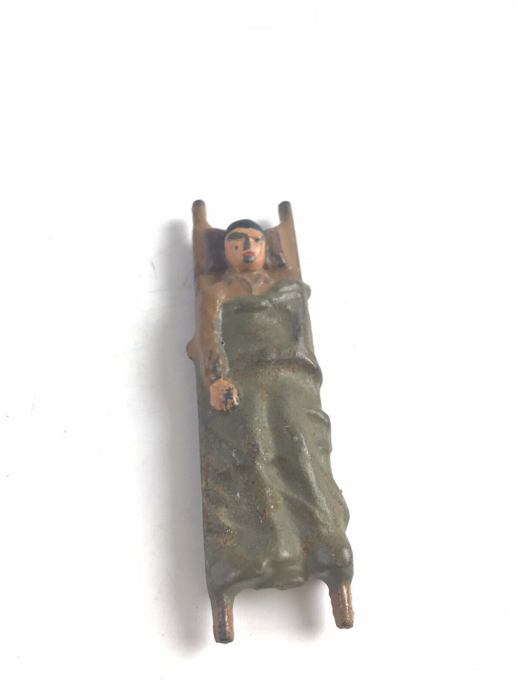 Vintage Barclay Grey Iron #96 Stretcher W/ Patient Lead Figure- 5730