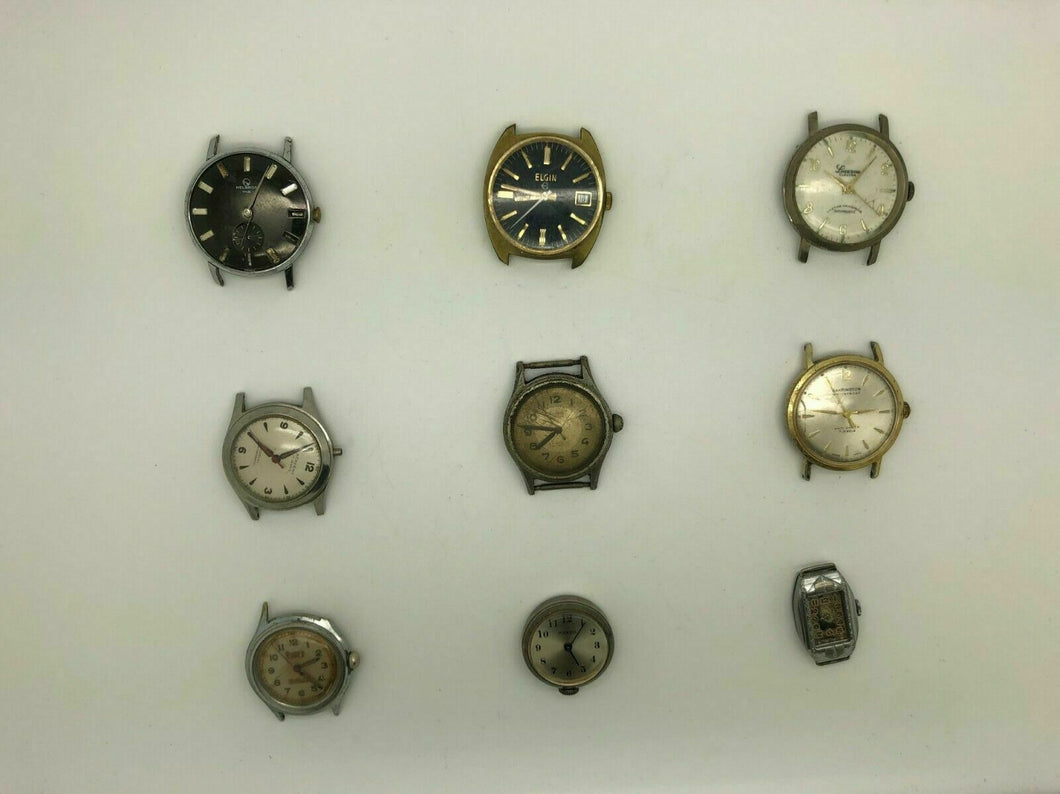 7 ASSORTED WRIST WATCHES WITHOUT BANDS - Elgin Lucerne Barrington - LOT 3384