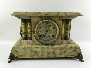 Vintage Waterbury Faux Marble Bell Alarm Pillar Mantle Clock (Working) #1409