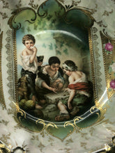 Load image into Gallery viewer, Antique RS Prussia Porcelain Portrait KeyHole Dice Throwers Bowl Art Nouveau