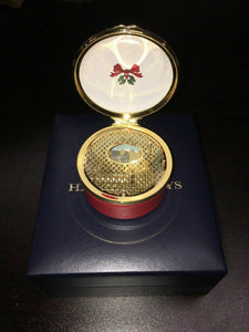 "Halcyon Days Vintage Enamel ""Christmas Wishes"" Musical Box -4396"
