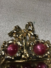 Load image into Gallery viewer, Coro Gold Tone Red Monglow Basket Brooch-5823