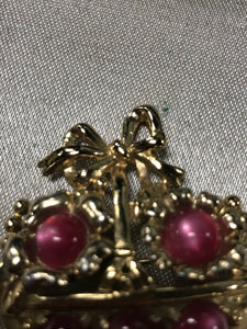 Coro Gold Tone Red Monglow Basket Brooch-5823