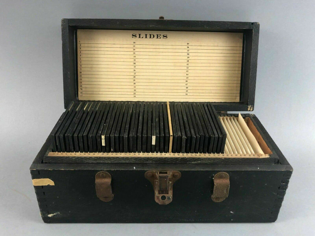 35 ANTIQUE MAGIC LANTERN GLASS SLIDES IN WOODEN BOX  - lot 3495