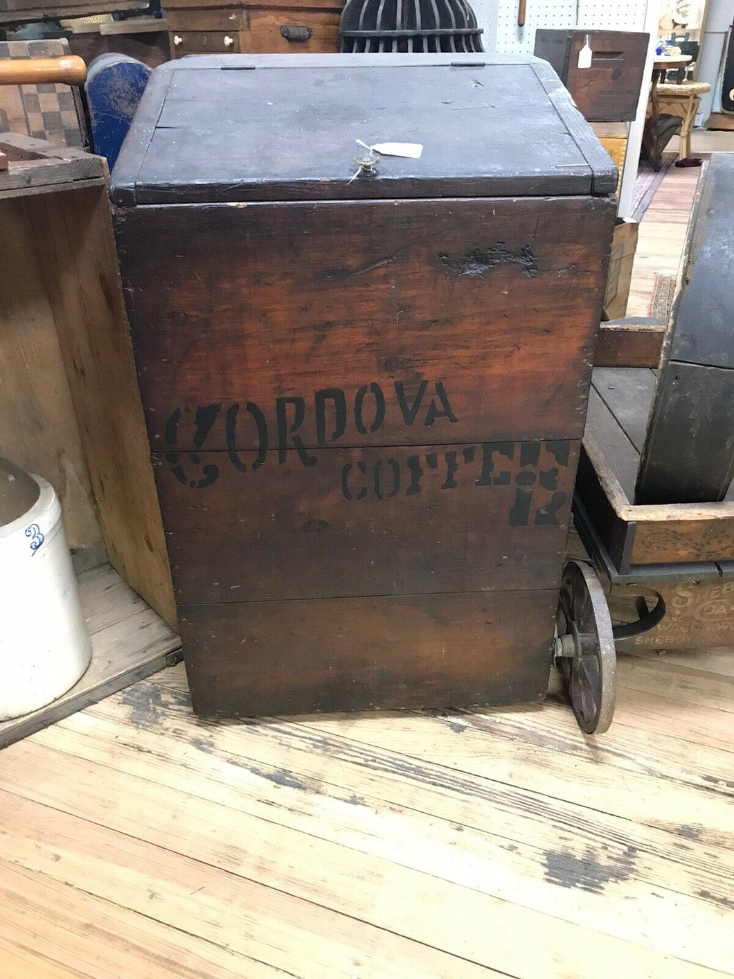 Vintage Early General Store Wooden Coffee Bin- 5098