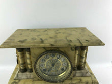 Load image into Gallery viewer, Vintage Waterbury Faux Marble Bell Alarm Pillar Mantle Clock (Working) #1409