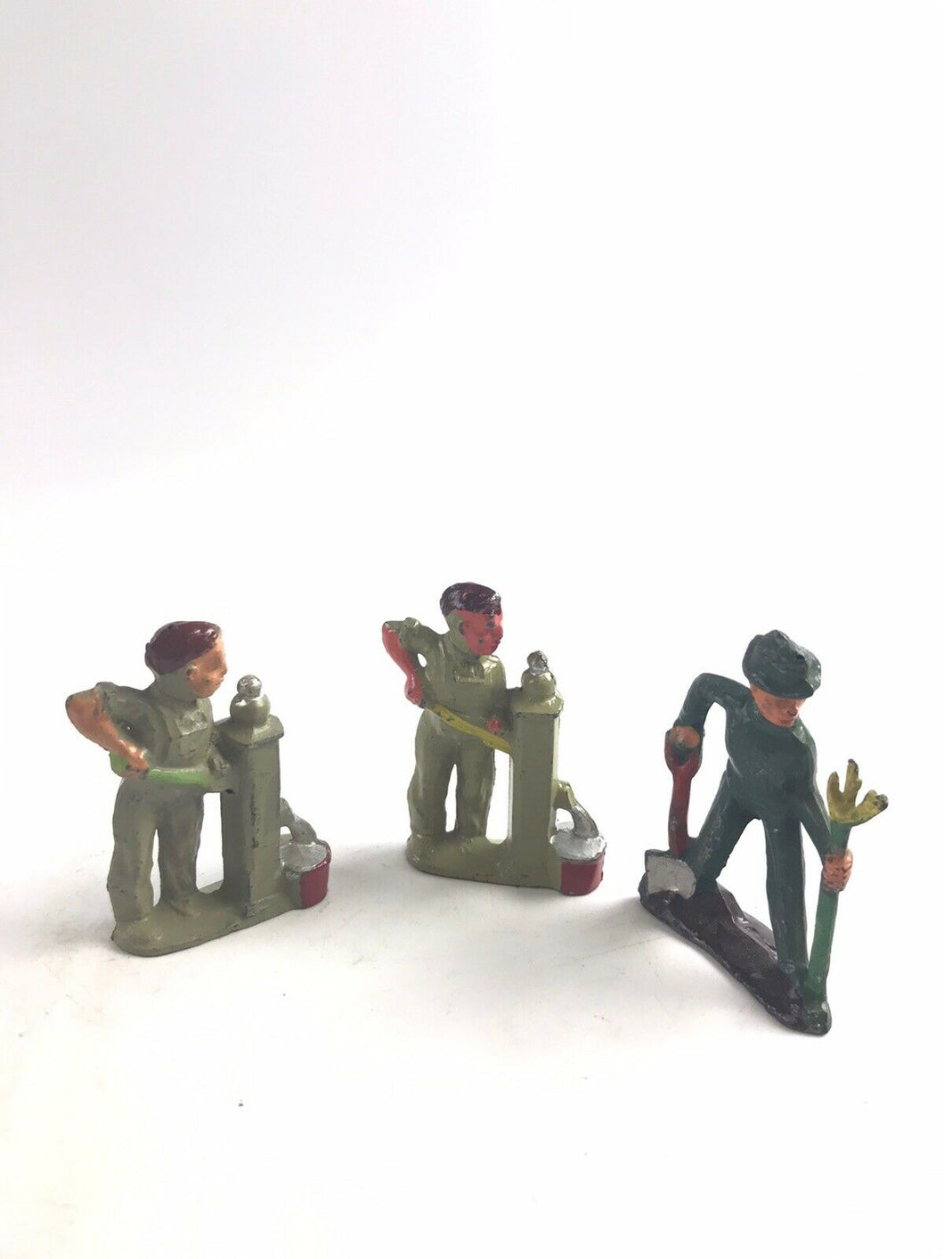 "Vintage Lot Of 3 Lead/Metal Barclay Figures ""Workers"" - 5329"