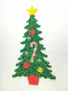 "Vintage Melted Plastic Popcorn Christmas Holiday Wall Hanging- Tree 24"" 4496"