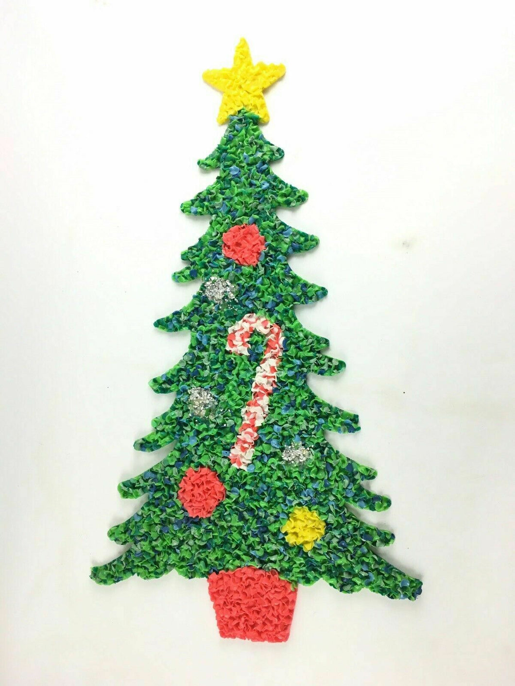 Vintage Melted Plastic Popcorn Christmas Holiday Wall Hanging- Tree 24