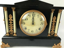 Load image into Gallery viewer, Antique Ornate Ingraham Wood Clock 4 Pillar Clock #1471