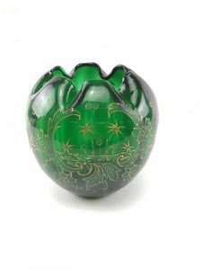 Vintage Green Hand Blown Glass Bowl - Lot 3345