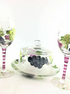Grape And Flower Themed Painted Glassware 4580