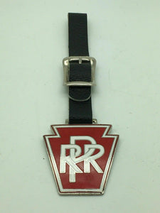 PRR PENNSYLVANIA RAIL ROAD WATCH FOB WITH LEATHER STRAP - LOT 3432
