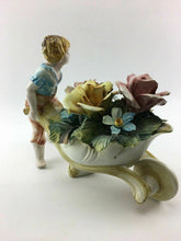 Load image into Gallery viewer, Vintage Capodimonte Large Wheel Barrel With Flowers - Lot 3278