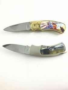 Collectors Knives (2) Native/wolf Themed 4533