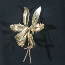 Load image into Gallery viewer, Sterling silver mexico handmade orchid flower pin broach and pair earnings.