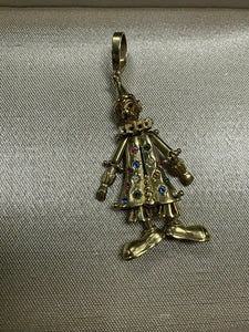 Vintage 9k Gold Diamond & Gemstone Animated Movable Clown Pendant English 17.4G
