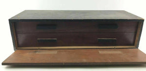 Antique Two Drawer Wooden Tool Box- 3787