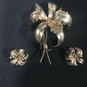 Sterling silver mexico handmade orchid flower pin broach and pair earnings.