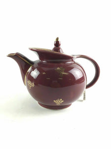 Hall China Maroon Windshield Gold Label 6 Cup Teapot 1940's Made In USA