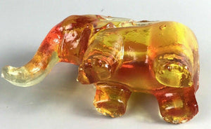 Small Orange Glass Elephant Ash Tray- 1176