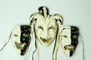 (3) Ceramic Wall Art Carnival Masks - lot 2476