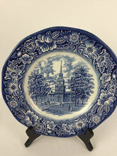 Load image into Gallery viewer, (3) Liberty Blue Staffordshire Iron Stone Independence Hall Dinner Plate - 2017
