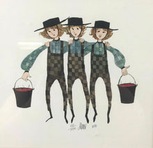 "Load image into Gallery viewer, 1985 PATRICIA BUCKLEY MOSS LITHOGRAPH ""BROTHERS THREE"" 551/1000 - LOT 3471"