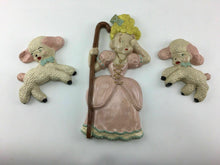 Load image into Gallery viewer, 3pc 1953 WM J AYERS LITTLE BO PEEP AND SHEEP CHALKWARE WALL HANGING  - LOT 3229