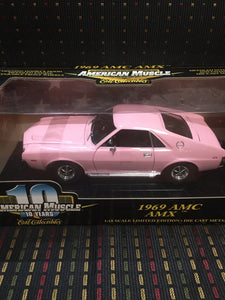 1969 AMC AMX 10 YEARS AMERICAN MUSCLE ERTL 1:18  ERTL PINK 2001 Issue stock