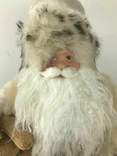 Load image into Gallery viewer, Santa Claus Fugurine W/ Fur White Suit And Teddy Bear- Lot 552