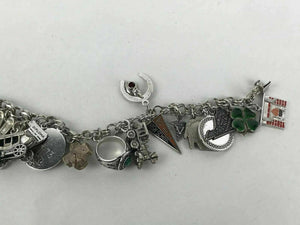 (2) Asst. Wells & Danecraft Sterling Double Loop Charm Bracelets - lot 2560