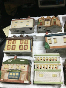 DICKENS OF LONDON 10 PIECE PORCELAIN HOUSES illuminated hand painted Mini -4402