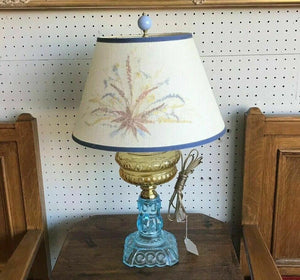 Antique Yellow Blue Glass Lamp- Electrified Oil