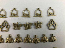 Load image into Gallery viewer, 41 ASSORTED MINIATURE ANIMAL BRASS CHARMS - LOT 3528