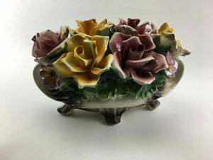 Vintage Large Capodimonte Pot With Flowers - Lot 3259