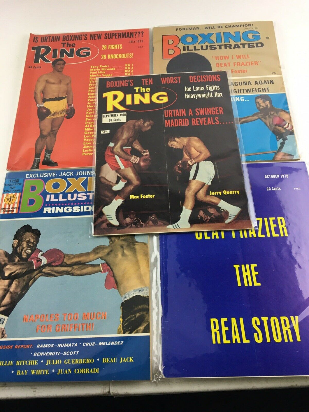 Assorted Lot Of 5 Vintage Boxing Magazines 1970 MINT- 5619