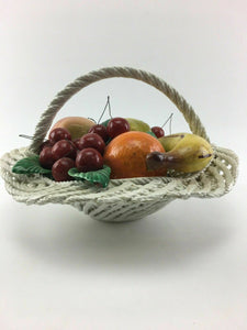 Vintage Capodimonte Porcelain Woven Fruit Basket - Lot 3315