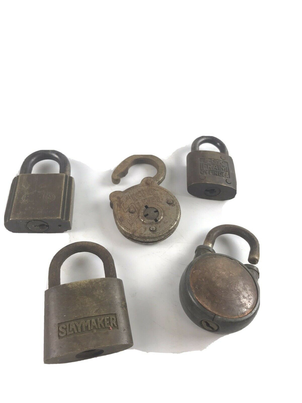 Assorted Lot Of 5 Vintage Padlocks/Locks - No Keys- 5244