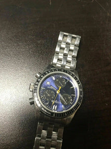Wittnauer Swiss Men's Chronograph blue dial stainless CIB Quartz Watch 4472
